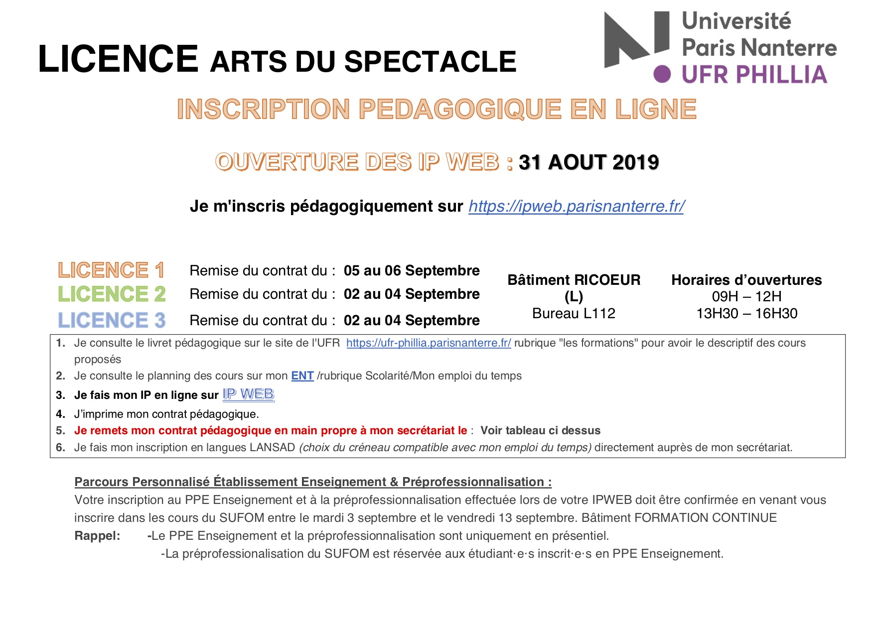 Calendrier Paris Nanterre.Departement Arts Du Spectacle Inscriptions Pedagogiques